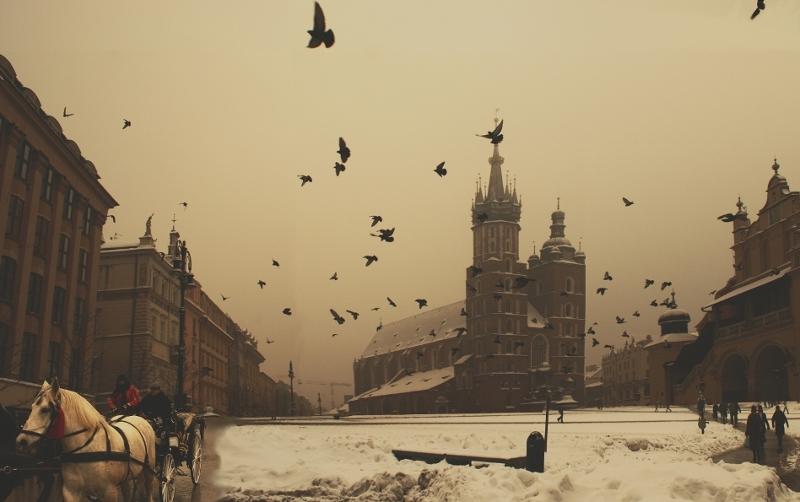 Krakow Main Square in Winter
