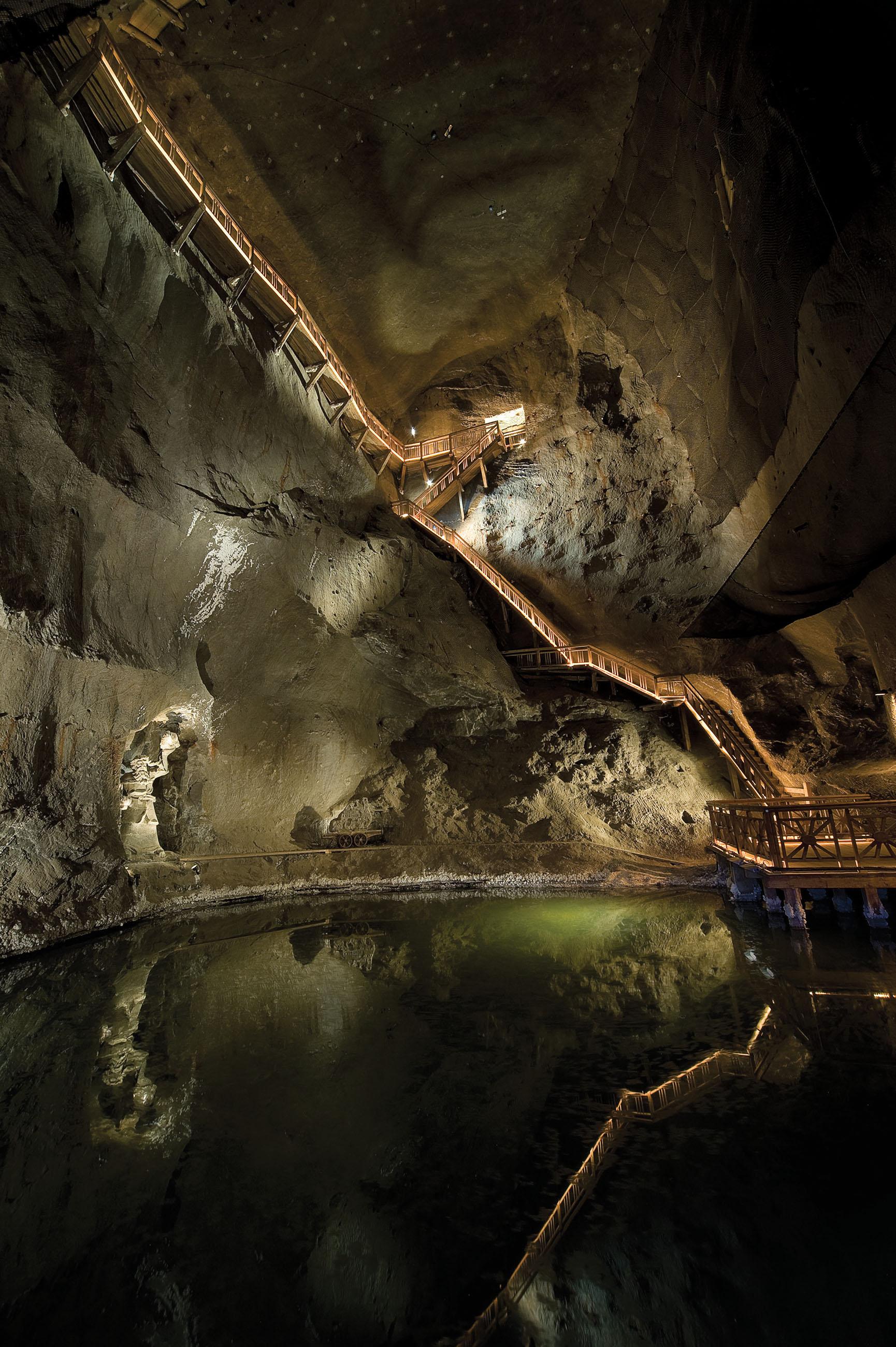 Salt lake in Wieliczka Salt Mine